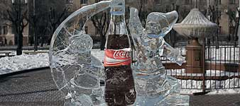 Khabarovsk, city center, Coca-Cola ice rebranding